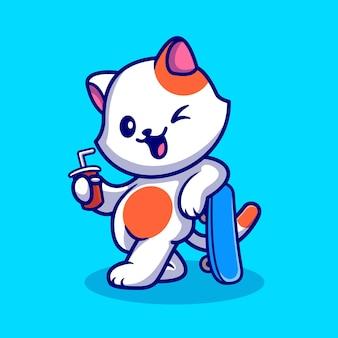 Schattige kat met skateboard en frisdrank cartoon vectorillustratie pictogram. dierlijke sport icon concept geïsoleerde premium vector. platte cartoonstijl