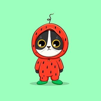 Schattige kat met watermeloen kostuum cartoon vector pictogram illustratie