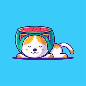 Schattige kat met watermeloen kostuum cartoon vectorillustratie. dierlijk plat cartoonstijlconcept