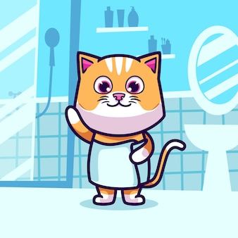 Schattige kat neemt een bad cartoon afbeelding