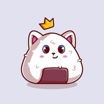 Schattige kat onigiri met kroon cartoon