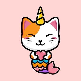 Schattige kat ontwerpt een mix van het concept van een zeemeermin en een eenhoorn