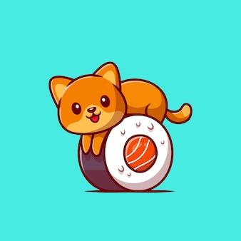 Schattige kat op sushi zalm cartoon pictogram illustratie.