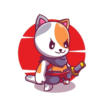 Schattige kat ridder met samurai mascotte illustratie cartoon vector icon