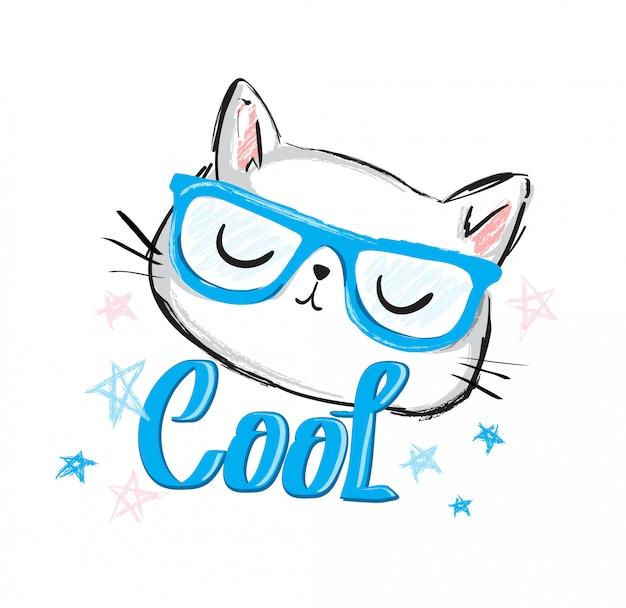 Schattige kat schets vectorillustratie,