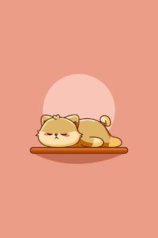 Schattige kat slaap dier cartoon illustratie