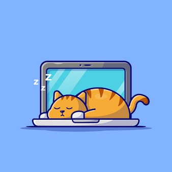 Schattige kat slapen op laptop met koffiekopje stripfiguur. dierlijke technologie geïsoleerd.