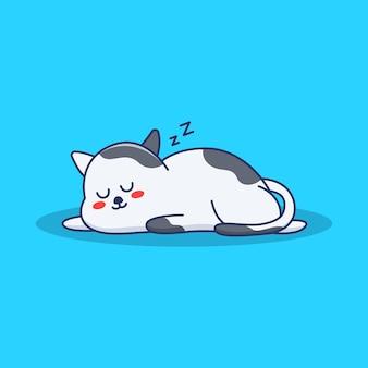 Schattige kat slapende illustratie in plat ontwerp