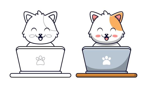 Schattige kat spelen laptop cartoon kleurplaten voor kinderen