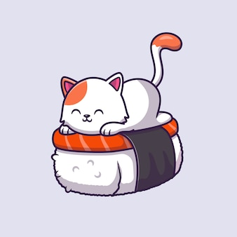 Schattige kat sushi zalm cartoon vectorillustratie.