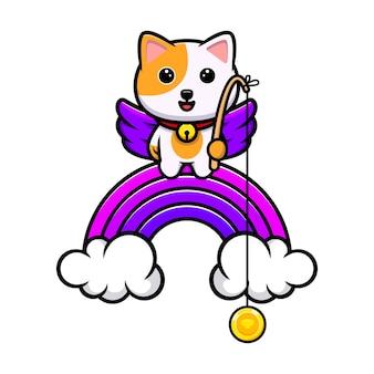 Schattige kat vangen munt van regenboog cartoon mascotte