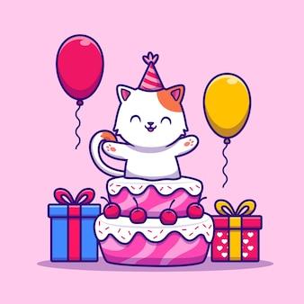 Schattige kat verjaardagspartij met taart, cadeau en ballon cartoon