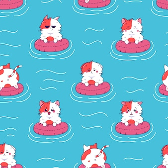 Schattige kat verschillende emotie op rubber ringon blauw zeewater kawaii naadloos patroon