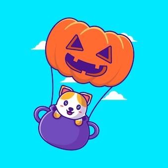Schattige kat vliegen met pompoen ballon cartoon afbeelding. halloween platte cartoon stijl concept