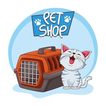 Schattige kat wit huisdier met transportbox karakter