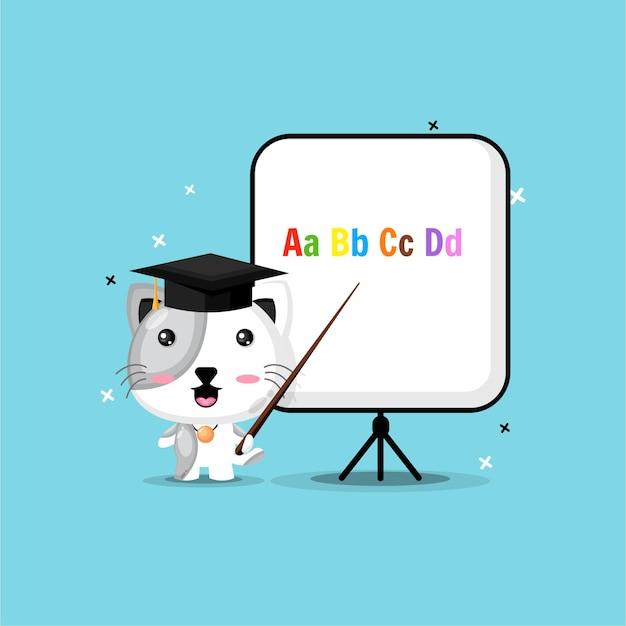 Schattige kat wordt leraren