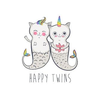 Schattige kat zeemeermin, doodle vectorillustratie voor kinderen. gelukkige tweeling. vector illustratie