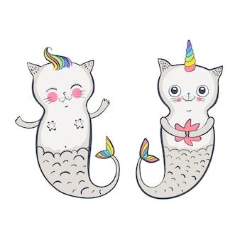 Schattige kat zeemeermin, doodle vectorillustratie voor kinderen. gelukkige tweeling. vectorillustratie eps 10