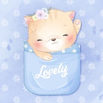 Schattige kat zit in de zak