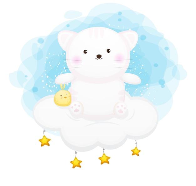 Schattige kat zittend op de wolk