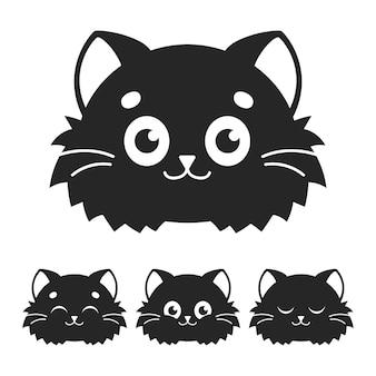 Schattige kat zwart silhouet