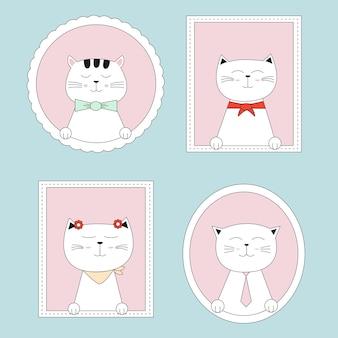 Schattige katten cartoon hand getrokken stijl