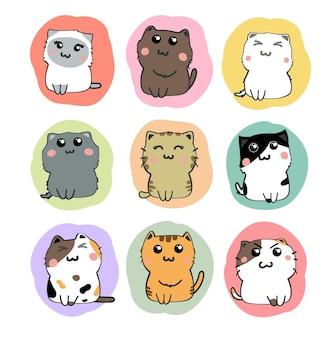 Schattige katten cartoon set vector