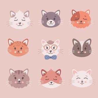 Schattige katten collectie katten gezichten huisdieren kittens schattige dieren