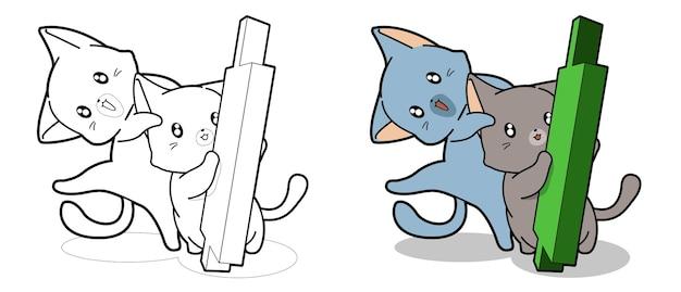 Schattige katten en groene kandelaar cartoon kleurplaat voor kinderen