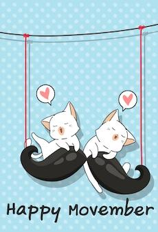 Schattige katten en grote snor in movember-dag