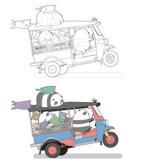 Schattige katten en panda's op de driewieler cartoon gemakkelijk kleurplaat pagina voor kinderen