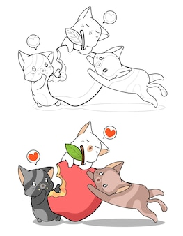 Schattige katten eten grote appel cartoon gemakkelijk kleurplaat