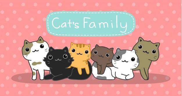 Schattige katten familie set