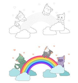 Schattige katten genieten van de kleurplaat van de regenboogcartoon voor kinderen
