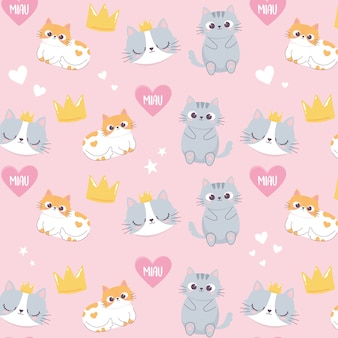 Schattige katten hoofden kroon liefde hart cartoon dierlijke grappige karakter achtergrond