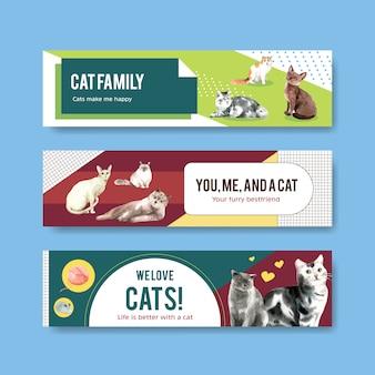 Schattige katten illustratie in aquarel stijl voor panoramische banner of koptekst sjabloon