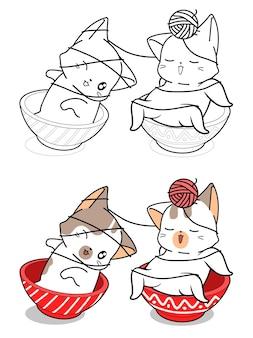 Schattige katten in kom spelen garen cartoon kleurplaat
