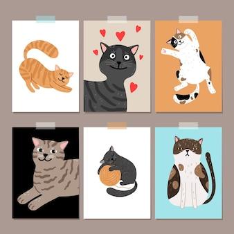 Schattige katten kaarten achtergronden.