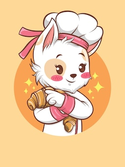 Schattige katten meisje chef-kok knuffelen een brood. bakkerij chef-kok concept. stripfiguur en mascotte illustratie.