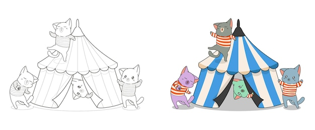 Schattige katten met circus cartoon kleurplaat voor kinderen