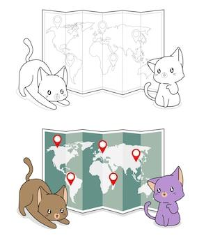 Schattige katten met een wereldkaart cartoon kleurplaat voor kinderen