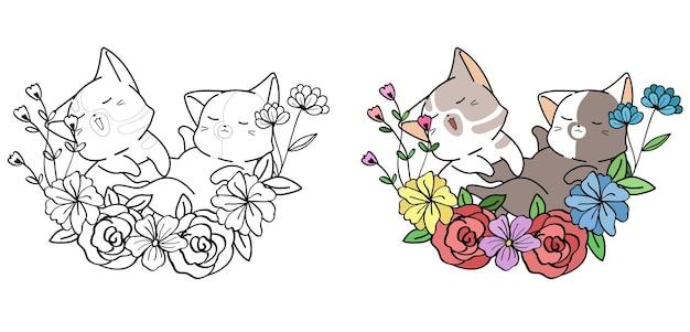 Schattige katten met krans cartoon kleurplaat