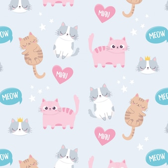 Schattige katten miauw liefde huisdieren cartoon dierlijke grappige karakter achtergrond