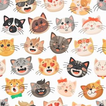 Schattige katten naadloze patroon, kitten snuiten