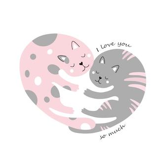 Schattige katten. omhelzing. een hart. ik hou zoveel van je.
