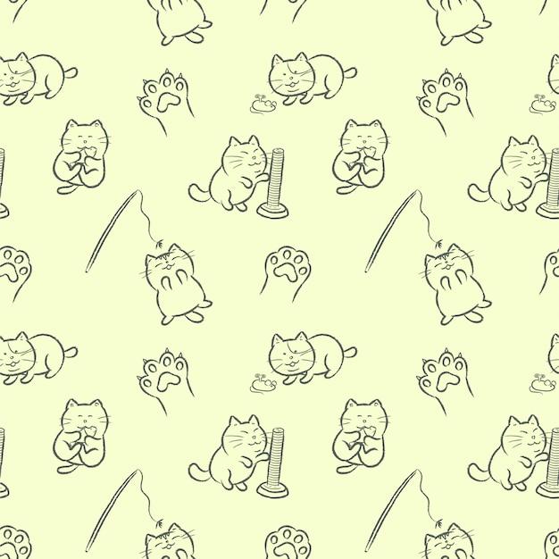 Schattige katten spelen met kattenspeelgoed hand getrokken cartoon stijl naadloze patroon.