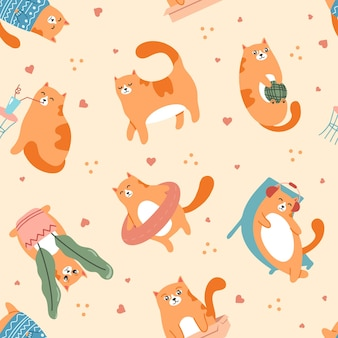 Schattige katten spelen patroon huisdier wandelen rustend op chaise en luisteren naar muziek in oortelefoons