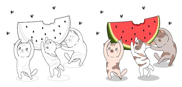 Schattige katten tillen grote watermeloen cartoon kleurplaat