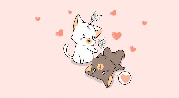 Schattige katten vallen van elkaar houden met pijl