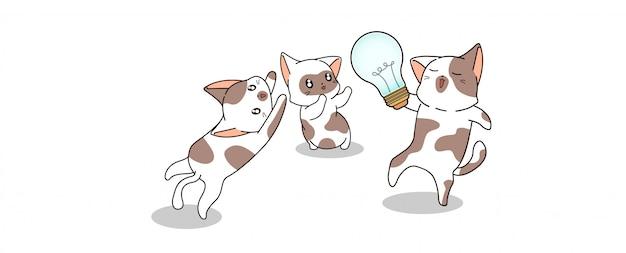 Schattige katten willen gloeilamp